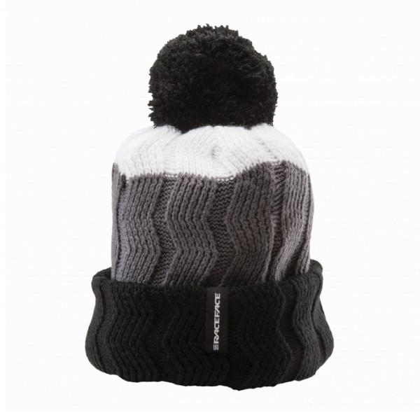 Bob Cable Knit Toque Bommelmütze - White/Grey